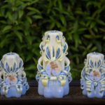 Handmade carved candles set 19
