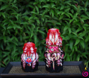 Carved candles decoration fruits